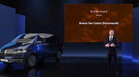 Breeze Van Centres hat trick at Volkswagen Commercial Vehicles' 2020 awards!