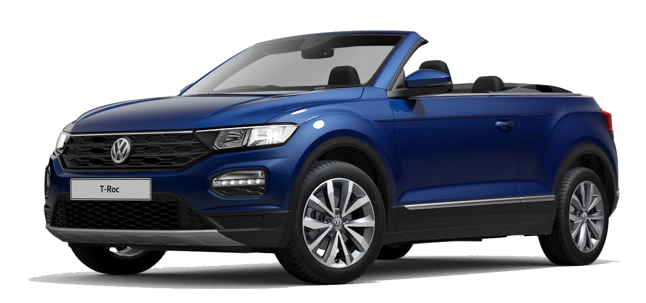 Volkswagen t roc cabriolet - Available in Ravenna Blue Metallic Black