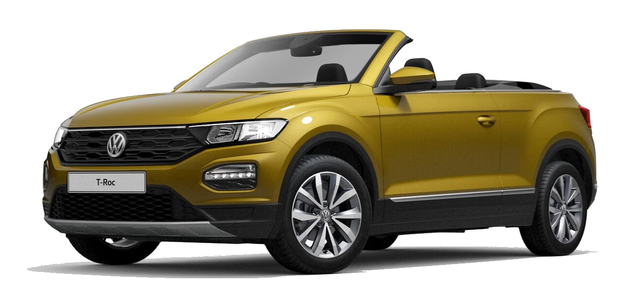 Volkswagen t roc cabriolet - Available in Tumeric Yellow Metallic Black